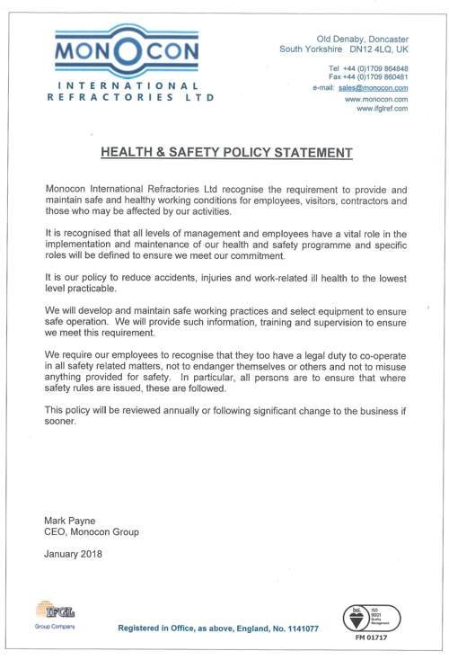 monocon health and safety policy 2018